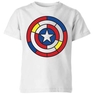Marvel Captain America Stained Glass Shield Kids' T-Shirt - White