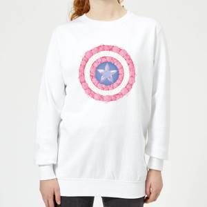 Marvel Captain America Flower Shield Women's Sweatshirt - White