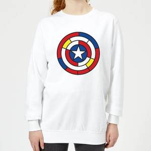 Felpa Marvel Captain America Stained Glass Shield - Bianco - Donna