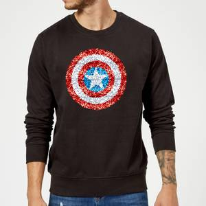 Marvel Captain America Pixelated Shield Sweatshirt - Black