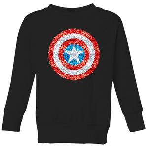 Marvel Captain America Pixelated Shield Kids' Sweatshirt - Black