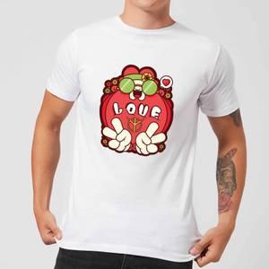 Hippie Love Cartoon Men's T-Shirt - White