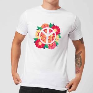 Peace Symbol Floral Men's T-Shirt - White