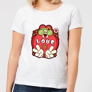 Hippie Love Cartoon Women's T-Shirt - White