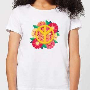 Peace Symbol Floral Women's T-Shirt - White