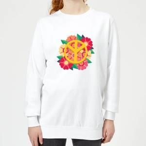 Peace Symbol Floral Women's Sweatshirt - White