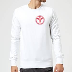 Floral Pattern Peace Symbol Sweatshirt - White