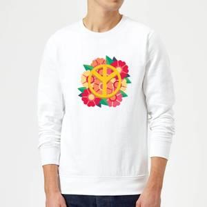 Peace Symbol Floral Sweatshirt - White