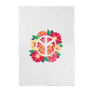 Peace Symbol Floral Cotton Tea Towel