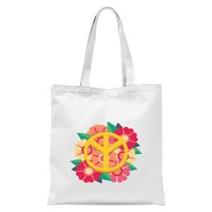 Peace Symbol Floral Tote Bag - White