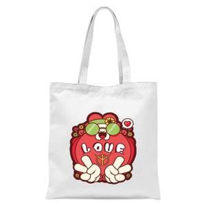Hippie Love Cartoon Tote Bag - White