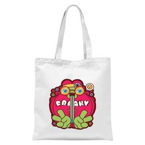 Hippie Psychedelic Cartoon Tote Bag - White