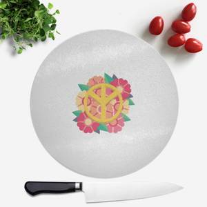 Peace Symbol Floral Round Chopping Board