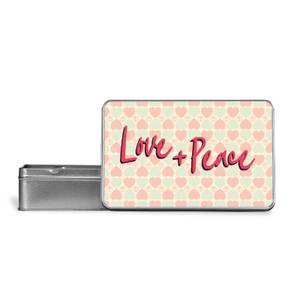Love + Peace Patterned Background Metal Storage Tin