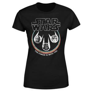 Star Wars The Force Is With You Retro Heads Women's T-Shirt - Black