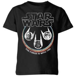 Star Wars The Force Is With You Retro Heads Kids' T-Shirt - Black