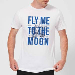 Fly Me To The Moon Blue Print Men's T-Shirt - White