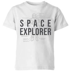 Space Explorer Schematic Kids' T-Shirt - White