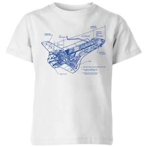 Shuttle Side View Schematic Kids' T-Shirt - White