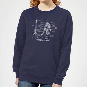 Command And Service Module Schematic Women's Sweatshirt - Navy