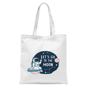 Let's Go To The Moon Tote Bag - White