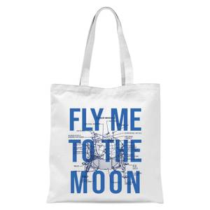 Fly Me To The Moon Blue Print Tote Bag - White