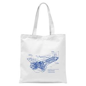 Shuttle Side View Schematic Tote Bag - White