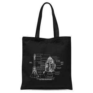 Command And Service Module Schematic Tote Bag - Black