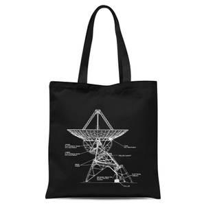 Satellite Schematic Tote Bag - Black