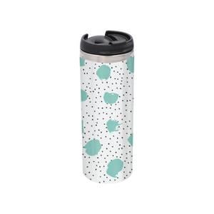 Mint And Black Polka Dot Stainless Steel Thermo Travel Mug - Metallic Finish