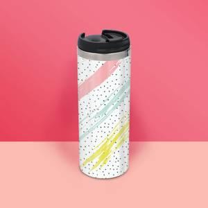 Colour Strike And Polka Pattern Stainless Steel Travel Mug