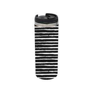 Black White Horizontal Stripe Stainless Steel Thermo Travel Mug