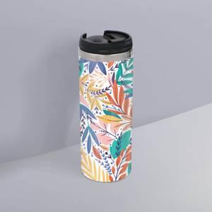 Colourful Leaf Print Stainless Steel Travel Mug