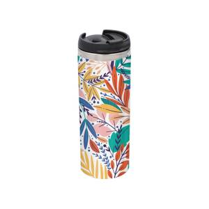 Colourful Leaf Print Stainless Steel Thermo Travel Mug - Metallic Finish