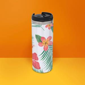 Tropical Botanical Pattern Stainless Steel Travel Mug