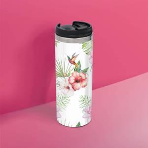 Pink Flower Hummingbird Stainless Steel Travel Mug