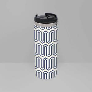 Navy And Nude Geometric Pattern Stainless Steel Travel Mug