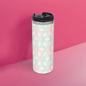 Coral And Mint Cube Pattern Stainless Steel Travel Mug