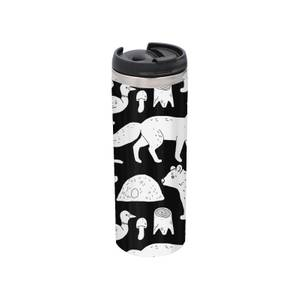 Animal Illustration Stainless Steel Thermo Travel Mug - Metallic Finish