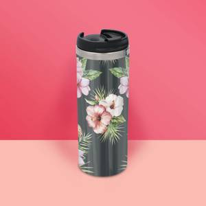 Pink Floral Stainless Steel Travel Mug