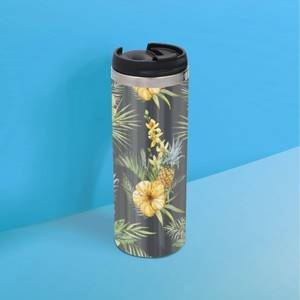 Yellow Floral Stainless Steel Travel Mug