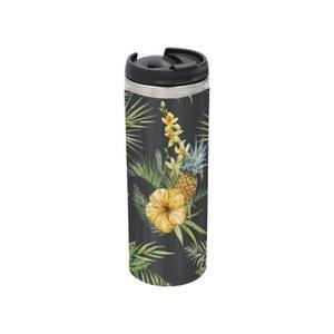 Yellow Floral Stainless Steel Thermo Travel Mug - Metallic Finish