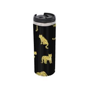 Cheetah Dark Stainless Steel Thermo Travel Mug - Metallic Finish