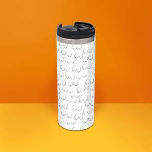Boobies Stainless Steel Travel Mug - Metallic Finish
