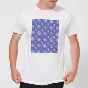 Floppy Disc Pattern Purple Men's T-Shirt - White