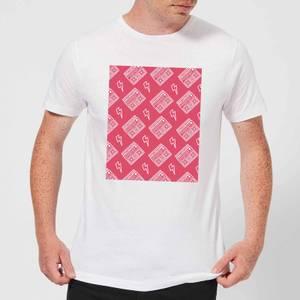 Boombox Pattern Pink Men's T-Shirt - White