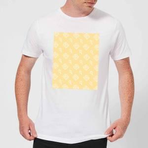 Floppy Disc Pattern Yellow Men's T-Shirt - White