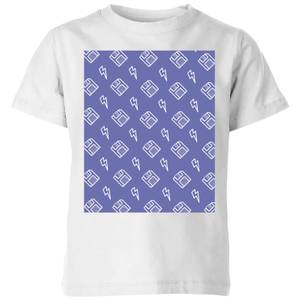 Floppy Disc Pattern Purple Kids' T-Shirt - White