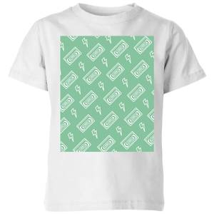 VHS Tape Pattern Green Kids' T-Shirt - White