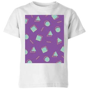 90's Circle Square Triangle Pattern Kids' T-Shirt - White